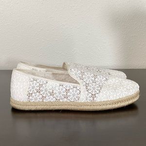 Toms Natural Floral Lace Slip Ons
